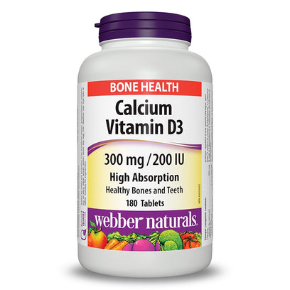 Webber Naturals Calcium Citrate With Vitamin D3 300mg/200 IU (180 Tablets)