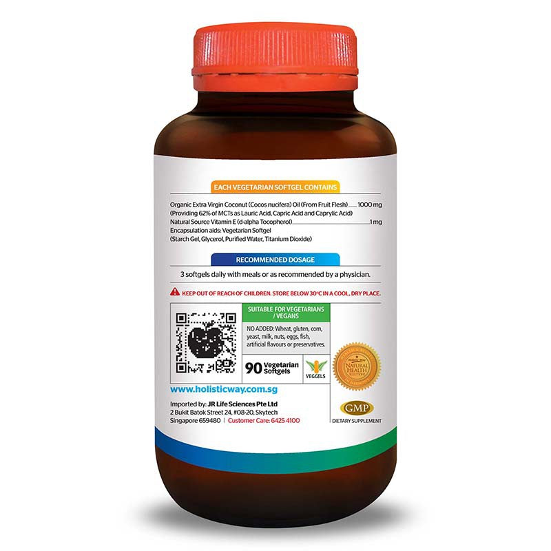 Holistic Way Organic, Cold Pressed & Extra Virgin Coconut Oil 1000mg (90 Vegetarian Softgels)