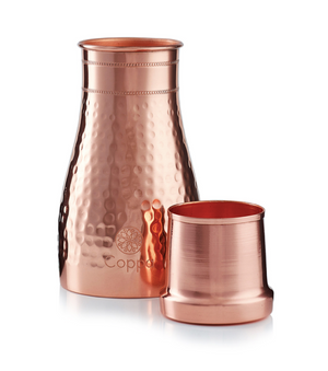 Copper Hammered Carafe & Cup