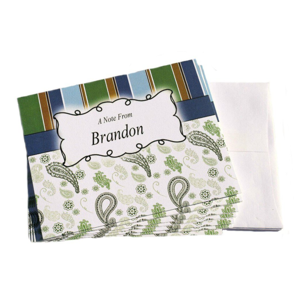 Earth Tones Paisley Personalized Note Cards