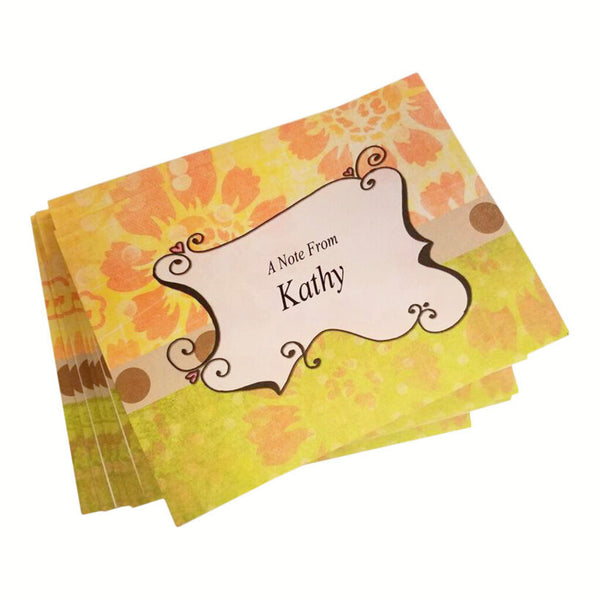 Orange Flowers Personalized Note Cards