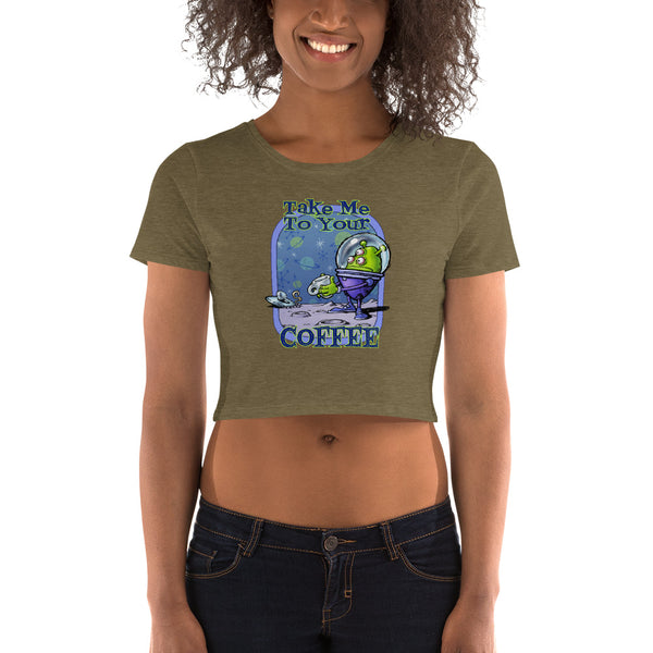 Green Alien Women's Crop Tee