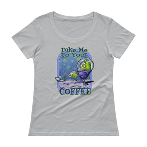 Green Alien Ladies' Scoopneck T-Shirt
