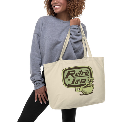 Retro Java Large organic tote bag
