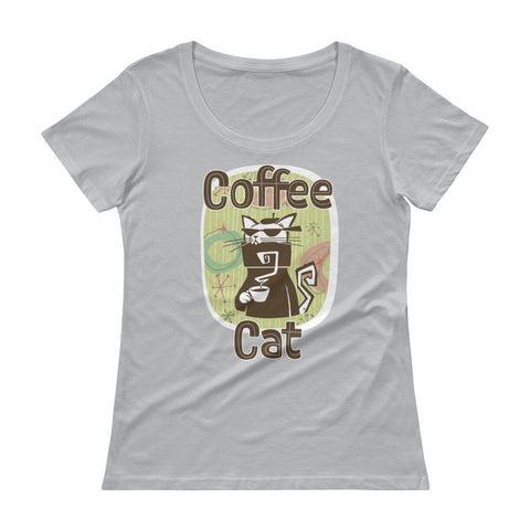 Coffee Cat Ladies' Scoopneck T-Shirt