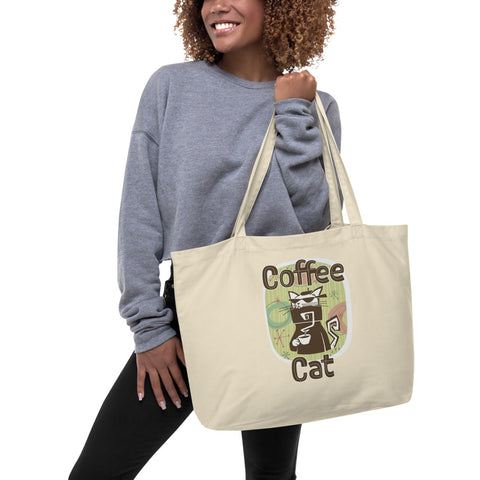 Coffee Cat Large Organic Tote Bag