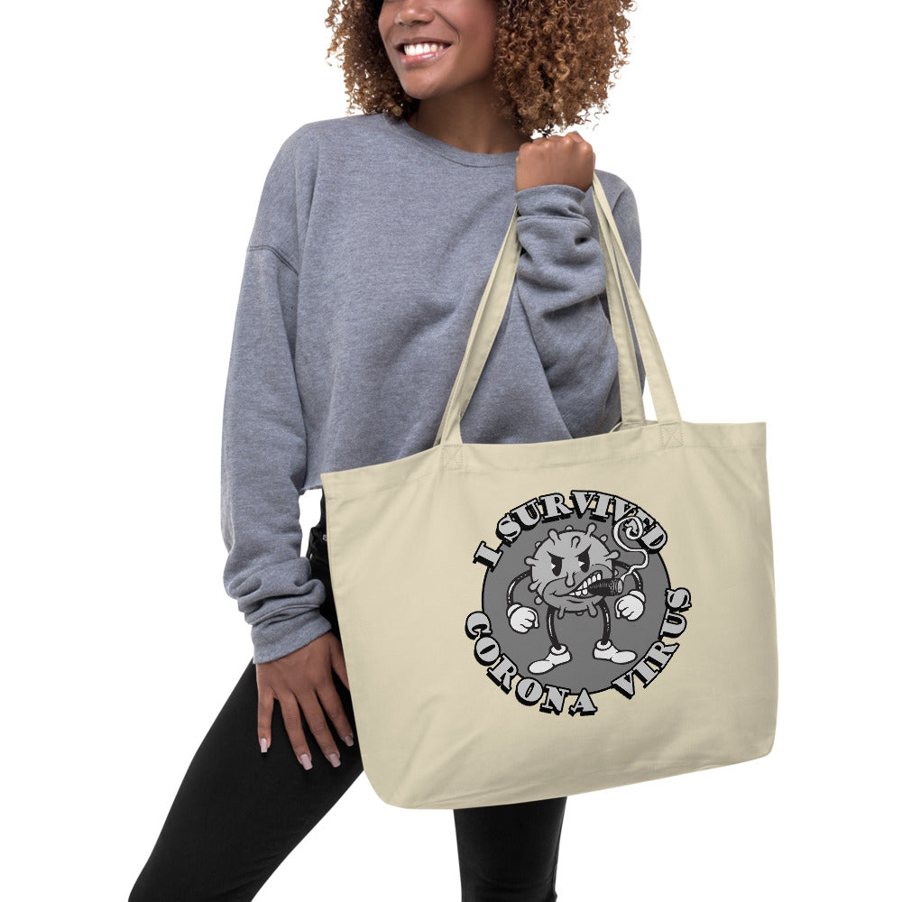 I Survived Corona Large organic tote bag