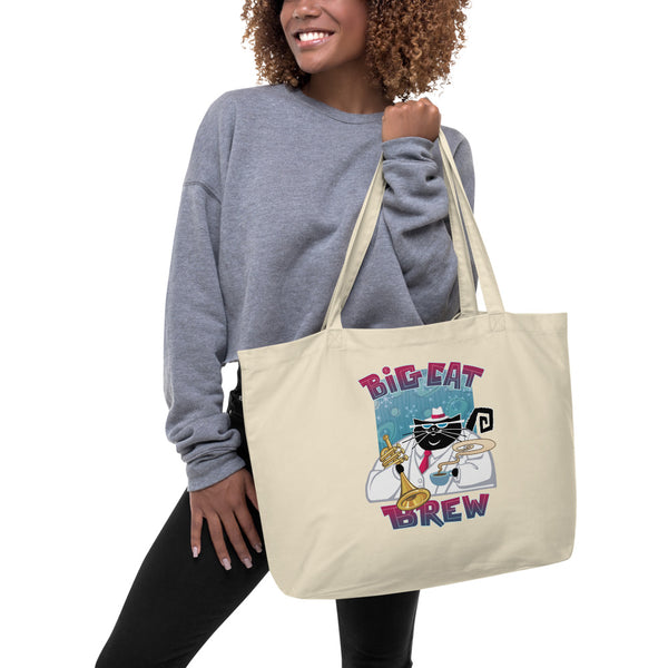 Big Cat Brew Large organic tote bag