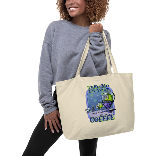Green Alien Large organic tote bag