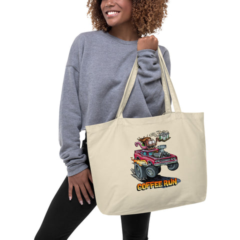 Coffee Run Large organic tote bag