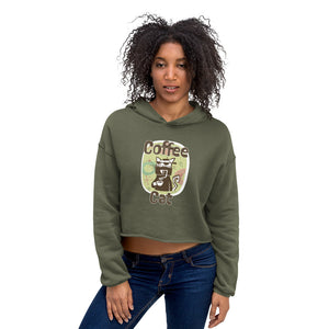 Coffee Cat Crop Hoodie