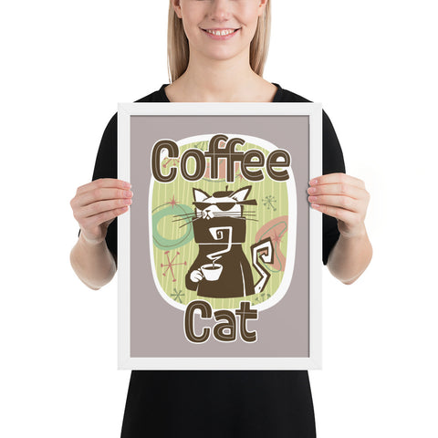 Coffee Cat Framed Poster