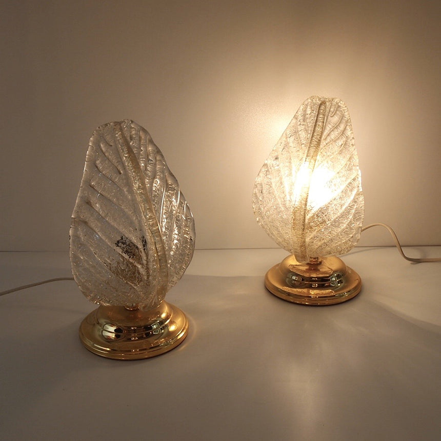 "Pair of ""Leaf"" lamps in Murano glass and brass from the 1980's  -  Paire de lampes ""feuille"" en verre de Murano et laiton des années 80."