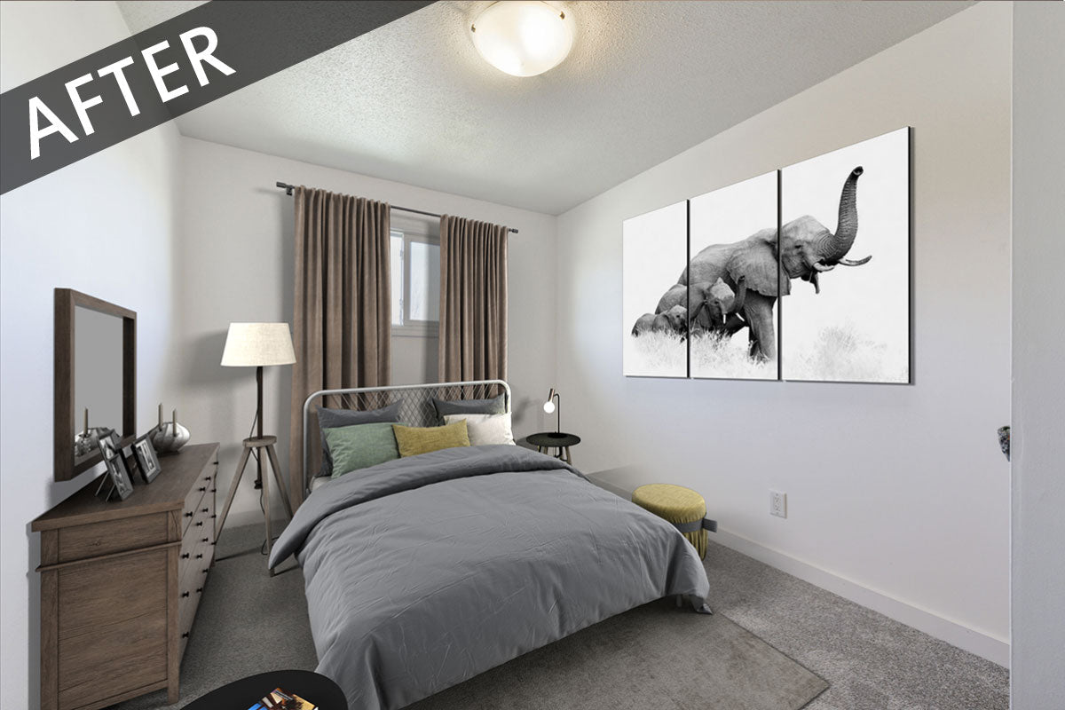 bedroom staged virtually