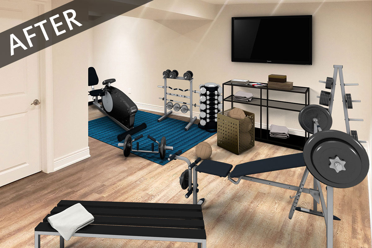 virtually staged home gym