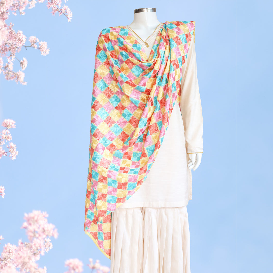 Phulkari Dupatta by Mystic Loom // Pastel Dupatta for online shopping