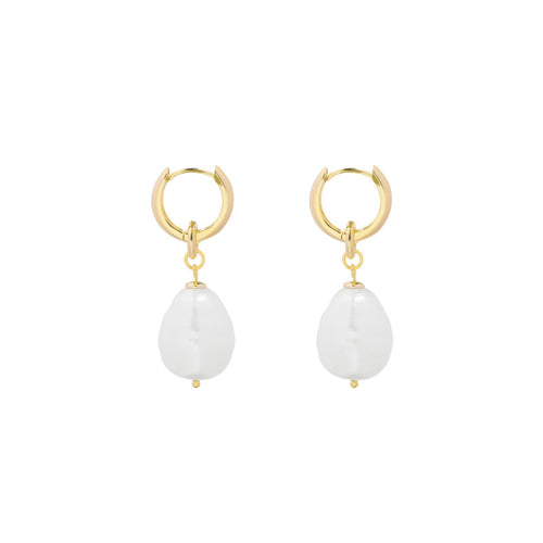 OORBELLEN PEARL DROP GOLD