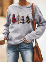 Christmas Trees Plaid Sweatshirt without Necklace - Gray