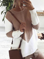 Women's Casual Sweater Round Neck Hollow Split Loose Long Sleeve Knitwear Tops