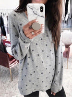 Star Print Casual Round Neck Long Sleeve Top