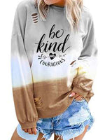 Be Kind Hollow Out Gradient Color T Shirts