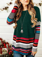 Long Sleeve Stripe Round Neck T-shirt