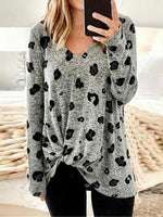Leopard Print Round Neck Long Sleeve Knot Top