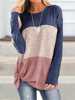 Bat Sleeve Round Neck Loose Colorblock Knot T-shirt
