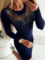 Women Sexy See-through Long Sleeve Slim Cocktail Mini Dress Sweaters Tight