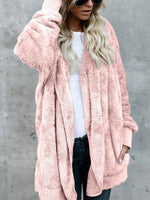 Women's Coats Middle-length Pure Color Cardigan Oversize Double Side Plush