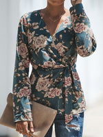 Lace-up Vintage Floral Print Loose Shawl Cape Tops