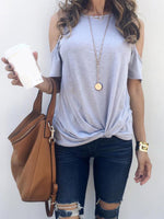 Solid Off-Shoulder Shirts without Necklace