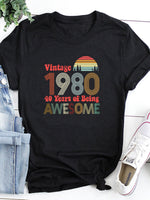Vintage 1980 Awesome O-Neck T-Shirt Tee - 40 Years Celebration