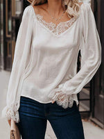 Solid Lace Splicing Long Sleeve Blouse