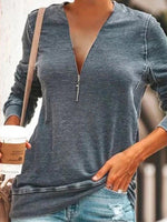 Women's Loose Long Sleeve Deep V-neck Zipper T-shirt Casual Pullover Tops
