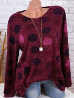 Round Neck Print Color Dot Long Sleeve T-Shirt