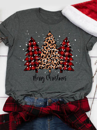 Women Short Sleeve Plaid Tops Leopard Print Christmas Tree Round Neck Casual