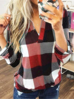 Women V-Neck Long Sleeve Plaid Tops T-Shirts Blouse Autumn Winter Casual Loose