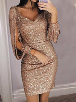 Fashion Women Ladies Sequins Sexy V-Neck Mini Casual Cocktail Party Slim Dress