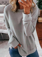 Loose Type Solid Color Round Neck Long Sleeve Pullover Top