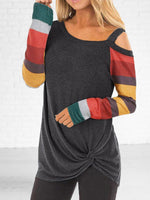 Women's Loose Striped Long Sleeve Off-Shoulder T-Shirt Oversize Pullover Tops