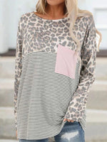 Leopard Print Patch Pocket Long Sleeved T-shirt
