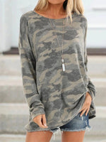 Camouflage Printed Casual Round Neck Long Sleeve T-Shirt