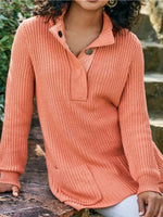 Buttoned Striped Double Pocket Knit Sweater