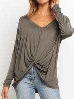 Solid Ruffled Deep V-Neck T-Shirt