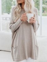Women Tops Pullover Autumn Winter Round Neck Long Sleeve Loose Pocket Fashion