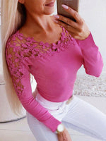 Women Cocktail Party V-Neck Splice Hollow Tops Sexy Long Sleeve Slim Fit