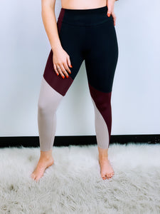 Asymmetrical Block Midi Leggings