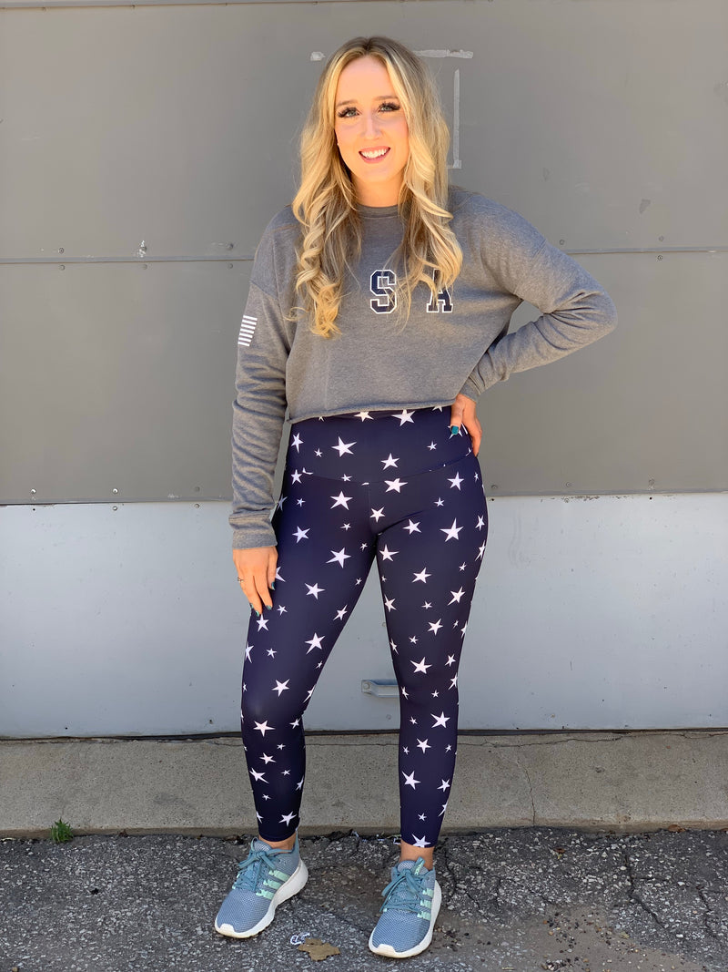 Cropped Crew Heather Gray Flag