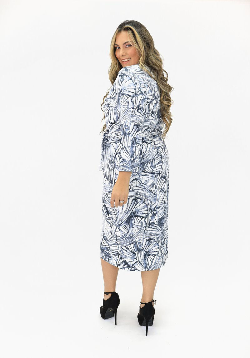 Cross Front Midi Dress Self-Tie Belt